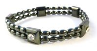 Magnetic Hematite And Rhinestone Bracelet.